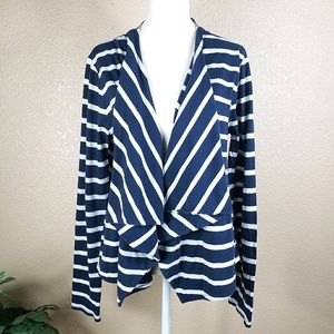 J. Crew navy blue and white striped cardigan